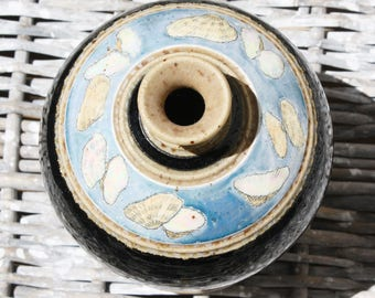 Handmade Pottery Blue Vase Vessel with Sea Shells