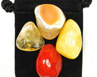 ANALYTIC ABILITIES Tumbled Crystal Healing Set - 4 Gemstones w/Description & Pouch - Agate, Calcite, Carnelian, and Citrine