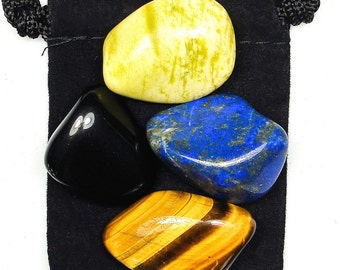 PERSONAL POWER Tumbled Crystal Healing Set - 4 Gemstones w/Description & Pouch - Lapis Lazuli, Obsidian, Serpentine, and Tiger's Eye