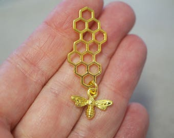 2 Metal Gold Plated Bee and Honeycomb Charms - 46mm