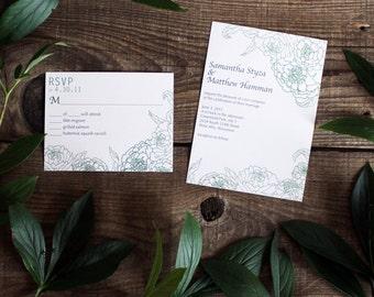 floral peony wedding invitation set - 50 invitations and response cards wedding stationery