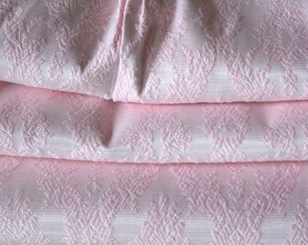 "Pink Damask Curtains, Blackout Lining, Extra Wide at 40""w. at top x 52""w. at bottom x 38""l."