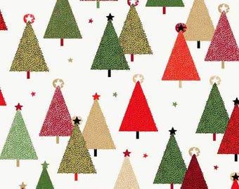 Modern Metallic Christmas - Trees White from Andover-Makower