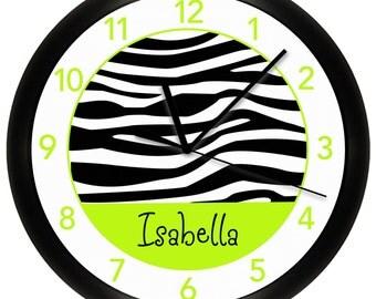 Lime Green Zebra Print Personalized Nursery Wall Clock