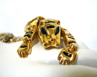 "1980's Articulated Tiger Brooch, 8"", Large Tiger Pin, Big Cat, Leopard, Jungle Cat, Animal Brooch, Gold Tone, Black Enamel, Statement Piece"