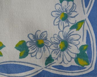1960s Luncheon Napkins - Set of 3 - White Daisies Blue Borders - Cotton Napkins - Vintage Table Linens - Crafts Fabric
