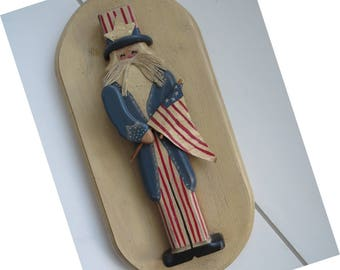 Americana Wooden Uncle Sam Plaque - Primitive Folk Art Vintage Wall Hanging - Patriotic Red White Blue - American Flag 4th July Home Decor