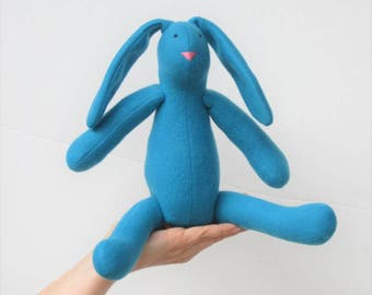Turquoise Easter bunny rabbit hare, stuffed bunny doll cute plush rabbit bunny softie toy Easter, birthday, baby shower nursery decor gift