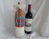 Wine Bottle Cover - Crochet Wine Cozy - Multi Color with Wood Beads