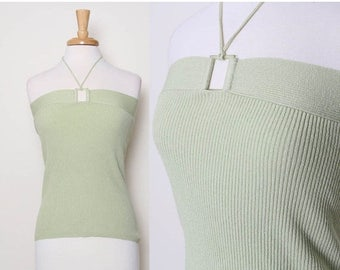 ON SALE Vintage 90s Light Green Ribbed Top