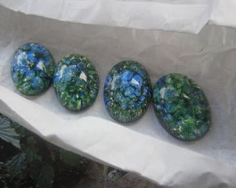 Czech Green Opal Glass Cabs 18x13mm 2Pcs. Lampworked Cabs