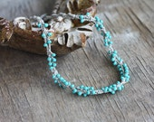 Linen crochet necklace with mint blue glass beads Rustic Natural Boho chic jewelry Summer fashion Fall Autumn Casual jewelry Gift for her