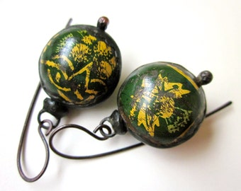 Don't Let Anybody Tell You Different - primitive vintage soldered rusty pine green yellow tin hollow bauble bead black metal earrings