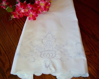 Silver Embroidered Pillowcase Vintage Pillow Slip Madeira Style Bed Linens Bedding