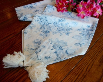 """French Country Table Runner Blue and White with Tassels Vintage Table Linens 12"""" x 68"""""""