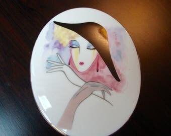 Shafford Trinket Box La Femme Fine Porcelain Vintage Jewelry Box