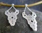 Shipibo silver plated earrings