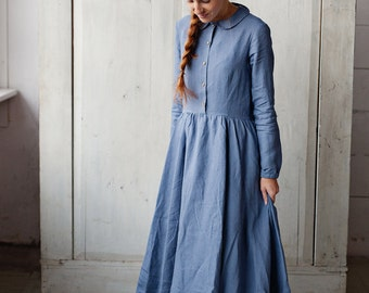 Wedding Dress, Guest Dress, Prairie Dress, Modest Dress, Maxi Dress, Classic Long Sleeves, Linen Dress, Feminine A-Line Dress, Smock Dress
