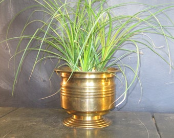 Vintage Brass Planter Pot Pedestal Base