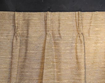 Pair of Very Long Vintage Woven Textured Curtains- Two Drapery Panels