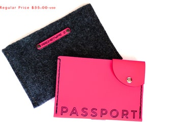 Leather Passport Holder in Pink. neon passport cover, unique travel gift for her, passport case wallet, boarding pass holder