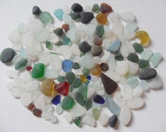 Bulk seaham sea glass mix 150 plus pieces includes multis, rare colours and some pebbles