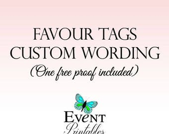 Printable Favor Tags, Custom Wording, Personalized Wedding Favor Tags, Bridal Shower Gift Tags, Digital File by Event Printables