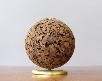 Mid Century Cork Globe Desk Organizer / Pen Holder