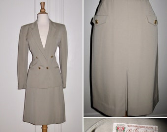 Vintage 1980s Gucci Italian Designer Double Breasted Wool Suit