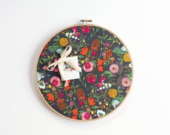 Floral Cork Board, Memo Board, Embroidery Hoop, Office Decor,  Organizer, Wall Decor, Home Office, Home Decor, Modern Home Decor Gray Floral