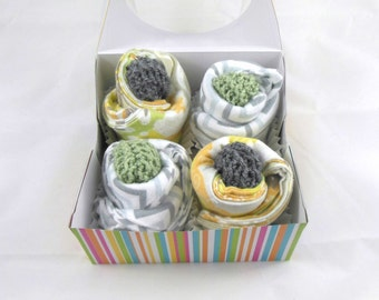 Baby Cupcakes-Set of 12 Cloth Wipes, Washcloths, Burp Cloths in Zoo Animals and Chevrons & 2 Sets of Baby Booties