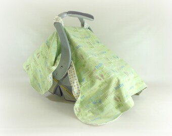 Car Seat Canopy, Car Seat Cover, Cart Cover in Hand & Footprints and Dots