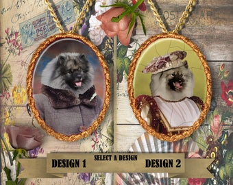 Keeshond Jewelry. Keeshond Pendant or Brooch. Keeshond Necklace. Keeshond  Portrait.Custom Dog Jewelry by Nobility Dogs.Dog Handmade Jewelry