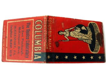 Matchcover Advertising Columbia Alkali Corporation McKeesport PA Front Strike on Front Matchbook Old Matches Red White Blue Chemical Sale Ad