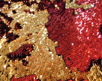 """Red on Gold Little Sequins Roll Over Mirage 2-Way Stretch Fabric Wedding Prom Quinceanera Sweet 16 Dance Clothing 52"""" Wide"""