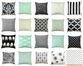CLEARANCE Throw Pillows, Black and Mint Pillows, Black Pillow Cover, Zippered Pillow, Mint Green Pillow Case, Black Toss Pillows, 16x16 SALE