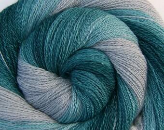 Luxury Gradient Handspun Yarn - GLACIER BAY - Handpainted 70/30 Polwarth/Mulberry Silk, 2 ply Lace weight, 766 yards