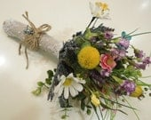 Silk Wildflower Wedding Bouquet. Sunflower Daisy Aster Bachelor Button Seed Pod lily. Rustic Barn Country Wedding. Blue Pink Yellow Orange