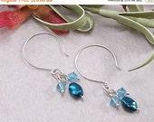 ON SALE: Blue Freshwater Pearl, Aquamarine Swarovski Crystal & Sterling Silver Dangle Hoop Earrings