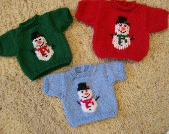 Snowman Crew Neck Sweaters Any 15 or 18 Inch Dolls American Girl Cabbage Patch Bitty Baby Christmas Winter