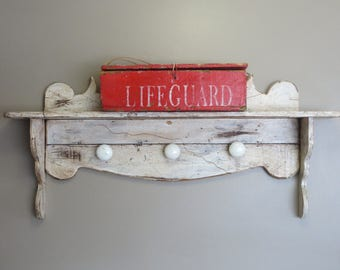 Rustic Red Wooden Box Lifeguard Americana Fourth of July Decor Distressed Wooden Storage Box
