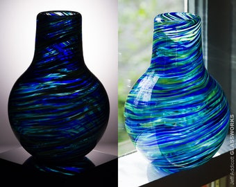 Small Hand Blown Glass Vase - Chimney Shape with Blue and Green Swirls