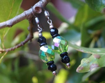 Shiny Green Glass Beads with Onyx Earrings