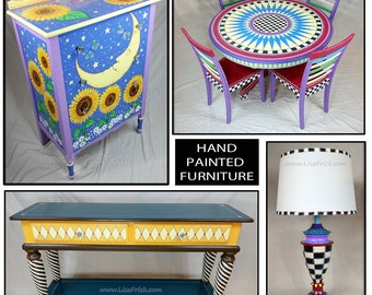 Hand Painted Furniture, Custom Hand Painted Furniture, Colorful Hand Painted Furniture, Hand Painted Table, Hand Painted Accent Furniture