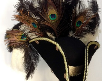 Steampunk gothic black & gold pirate Tricorn hat