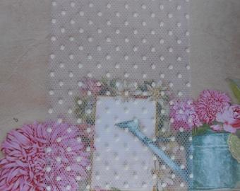 "Tulle Ribbon Flocked Polka Dots White 4"" width 5 yards"
