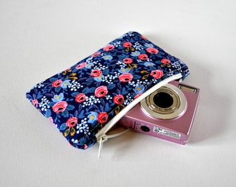 Woman's English rose gadget padded camera pouch floral flower liberty inspired print in navy blue ,pink and white.