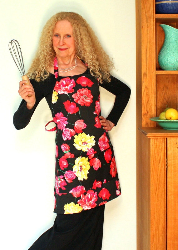 Womens Full Apron, Pink and Yellow Posies Apron