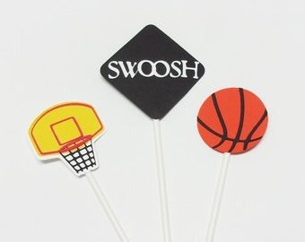 Basketball Cupcake Toppers/Boy Birthday/Basketball Party/Banquet/Sports