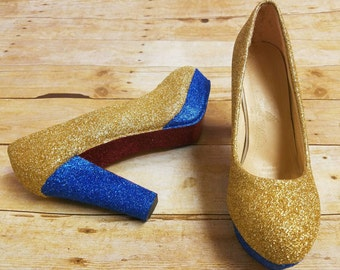 Blue and gold heels, glitter shoes, Blue shoes, gold glitter, shoes, Wedding shoes, Bridal shoes, something blue, beauty and the beast heels